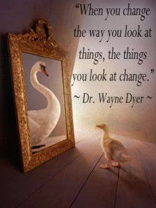 """""""When you change the way you look at things, the things you look at change."""" ~ Dr. Wayne W. Dyer"""