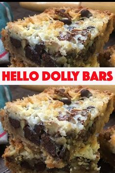 Hello Dolly Bars are one of the best dessert recipes. They are easy to make and are a delicious treat with chocolate chips, coconut, Eagle Brand Sweetened Condensed Milk, pecans, and graham crackers. Desserts How To Make Hello Dolly Bars 13 Desserts, Brownie Desserts, Best Dessert Recipes, Sweet Recipes, Recipes Dinner, Easy Recipes, Southern Desserts, Potluck Desserts, Holiday Desserts
