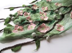 Nuno Felted scarf pink Apple blossoms. Just beautifully executed, on what looks like soft mint silk chiffon or silk tissue.