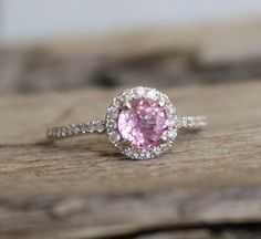 Coral Pink Sapphire Diamond Halo Engagement Ring in door Studio1040, $1150.00