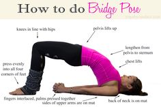 Bridge is great for opening the front body, as it stretches the chest, shoulders and hip flexors. This is the perfect pose for someone who sits all day, or who has poor posture. Beginners can use a yoga block as shown in this post to help keep the knees in line with the hips.