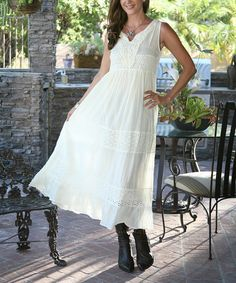 This Ivory Crochet-Yoke Sleeveless Maxi Dress by Ananda's Collection is perfect! #zulilyfinds