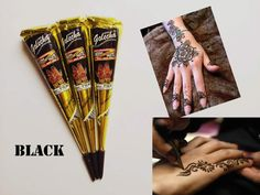 3pcs/lot black Henna Temporary tatoo india tattoo tube for body Paste Cone Body Art painting products 30g