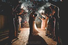 Sparklers. Exit. Confetti. Kiss. Happily ever after. Love. Beautiful. Off Camera Flash.