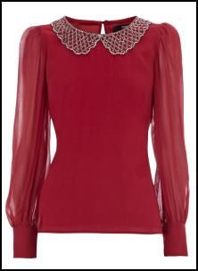 Deep Red Cocktail Blouse With Peter Pan Beaded Collar (Warehouse AW11) #KiwiBeMine