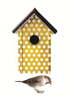 geel vogelhuisje