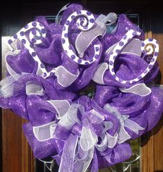 Would be perfect with wooden Sigmas instead of the TCU :) Purple Wreath, Personalized Napkins, Arts And Crafts, Diy Crafts, Do It Yourself Home, Mesh Wreaths, Deco Mesh, Event Decor, Craft Gifts