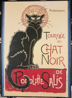 POSTER PRINT OF TOURNEE DU CHAT NOIR DE RODOLPHE SALIS, MEASURES 26 IN. X 36 IN.