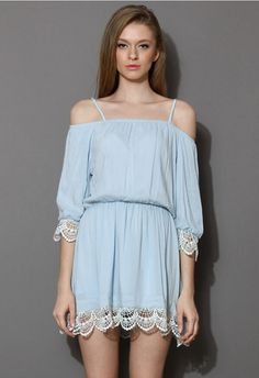 Sexy Slash Neck Straps Dress For Women Sky Blue Three Quarter Lace Dresses.Just need  $17.33