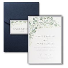 Watercolor Verdure Layered Pocket Wedding Invitation Icon Pocket Invitation, Pocket Wedding Invitations, Online Fonts, Reception Card, Foil Stamping, Response Cards, White Envelopes, Your Cards, Wedding Cards