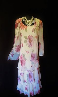 CATTIVA (NEW YORK), Dusky Pinks & Sage Green Floral, Floaty, Layered Dress and Jacket, size UK12