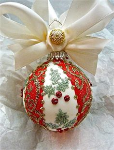 photo of glass ornament with hand Painted Christmas Ornaments, Hand Painted Ornaments, Noel Christmas, Christmas Candles, Christmas Bulbs, Christmas Decorations, Decorating Ornaments, Diy Ornaments, Holiday Decorating