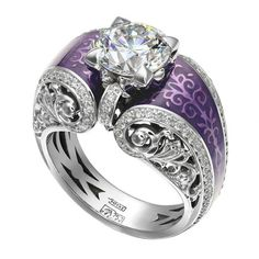 Diamond ring with purple ornaments