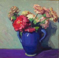 Jane Peterson (American, 1876-1965) Pink Zinnias in a Blue Jug ...
