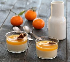 Appelsin-pannacotta Norwegian Food, Norwegian Recipes, Panna Cotta, Cinnamon, Food And Drink, Snacks, Baking, Orange, Ethnic Recipes