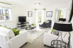 Living Room, 4 bedroom show home, New Home, Lime green and black and grey décor