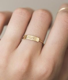 Personalized Bar Ring • Custom Roman Numerals Ring • Custom Initials Ring • Hand Stamped Name Bar • 14k Gold Fill, Sterling Silver, LR458 #gold14krings