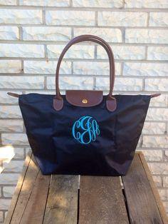 Monogram Tote Bag Longchamp Style Bag by SassyClassyMonogram