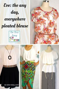 Here's a pleated blouse to represent you all in many different activities. This pleated blouse will do it all depending on what fabric you choose.