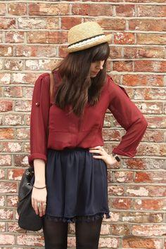 Navy-shorts-crimson-sheer-blouse