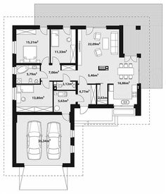 Projekt domu Endo 2 112,75 m2 - koszt budowy - EXTRADOM Bungalow, Bed Plans, Facade House, House Floor Plans, Home Projects, Planer, Sweet Home, Flooring, How To Plan