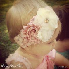 Petite Bijou Pink,  Baby Girl Headband, Infant girl Headband, Vintage Girl Headband, Ivory lace headband