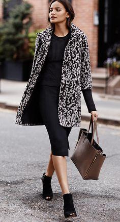 *Snow leopard jacket + black midi knit skirt or black dress & taupe coach bag