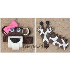 Clippie Pair by Sydney So Sweet - Boutique Ribbon Hair Bow Clip - Giraffe