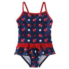 Pink Platinum Infant Toddler Girls' Lady Bug 1-Piece Swimsuit