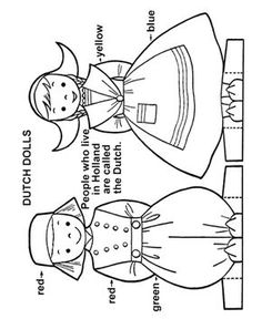 CHILDREN OF THE WORLD <=> HOLLAND - Paper Doll Cut-Out Sheet Collection of International paper dolls that provide a range of cultural/traditional costumes from various countries. Paper Embroidery, Embroidery Patterns, Shirt Embroidery, Paper Toys, Paper Crafts, World Thinking Day, Activity Sheets, Vintage Paper Dolls, Youth Activities