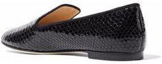 Giuseppe Zanotti Design Metallic Snake-Effect Leather Slippers