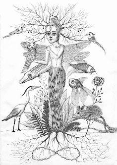 Zuzana Dolinay, Mother nature, pen and ink, https://www.facebook.com/pages/Zuzana-Dolinay-online-ateli%C3%A9r/168095686614265
