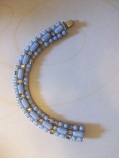 Vintage Baby Blue Silver Tone Bracelet MM101 by HeartsMaddness, $18.00