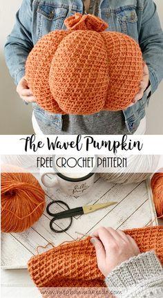 Crochet Pumpkin Pattern, Halloween Crochet Patterns, Crochet Potholder Patterns, Dishcloth Crochet, Crochet Afghans, Crochet Blankets, Crochet Fall, Free Crochet, Knit Crochet