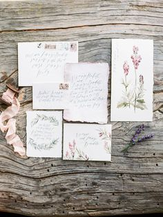 Botanical invitations from Winifred Paper: http://www.stylemepretty.com/2015/07/21/dreaming-in-a-lavender-field-wedding-inspiration/ | Photography: Sally Pinera - http://sallypinera.com/