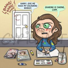 """@cyrilliart: """"Harry was out buying art supplies today! The colouring books on the table are by @rosketch and myself ^_^"""""""