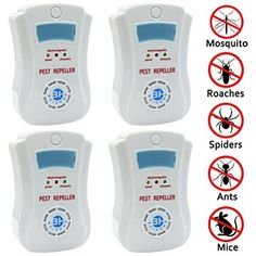 4pcs Ultrasonic Pest Repeller Repellent, Uses the Latest Ultrasonic Technology Againsts Rodents, Rats, Mice, Squirrels, Insects, Bugs, Spiders, Cockroaches, Flies, Ants [Free Night Light]