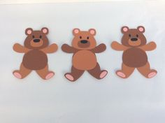3 Card Teddy Bears, Embellishments, Card And CraftToppers, New Baby, Handmade Cut Animals, Teddy Bears, New Baby Products, Embellishments, Felt, Cards, Handmade, Ebay, Ornaments