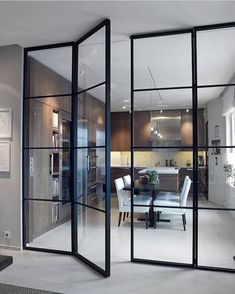 Interior french doors add a beautiful style and elegance to any room in your home. Interior Architecture, Interior Design, Steel Doors, Interior Barn Doors, Scandinavian Interior, Innovation Design, Windows And Doors, French Doors, New Homes