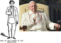 """The Freemasons have a secret sign called """"Sign of the Master of the 2nd Veil"""". This sign is a perversion of when God asked Moses to put his hand in his bosom and bring it out."""