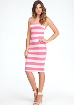 bebe | Midi Length Strapless Dress - View All