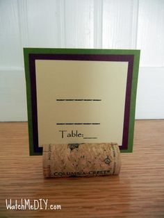 Cork Name Card Holders – Wine Themed Wedding   ... I love this! Such an awesome idea!