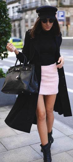 Street Style - mini skirt + trench...I think the hat totally makes the outfit!