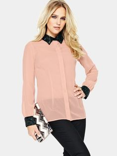 South Slim Fit Embellished Collar Blouse 9