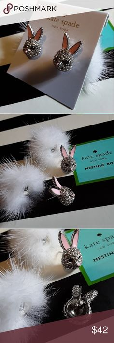 54e07e1f1 New ♤️ks Magic Bunny Puff Earrings!🐰 Beautiful crystal bunnies with puff  backer!