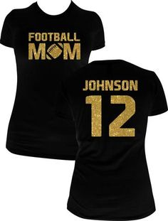 Personalized Football Mom Shirt Black Short Sleeve- You Choose Color!
