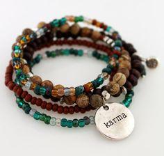 Bohemian Stretch Bracelet- Karma Stacked Bracelets