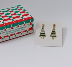 Vintage 1988 Signed Avon Trim A Tree Holiday Earrings by ThePaisleyUnicorn
