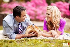 Kevin Paul Photography - Heather and Jeremy brought their Sulcata tortoise Sir Walter Raleigh along for the engagement shoot. Heather even made a little hat and feather for him!
