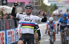 Britain's Mark Cavendish, of team Sky Procycling celebrates as he wins the second stage of the Giro d'Italia cycling race, 206 km leg, from Herning to Herning on May 6, 2012. World champion Mark Cavendish showed his sprint rivals he is still the man to beat as he won the second stage of the Giro d'Italia 206km around Herning on Sunday. AFP PHOTO/ CLAUS FISKER/ScanpixCLAUS FISKER/AFP/GettyImages